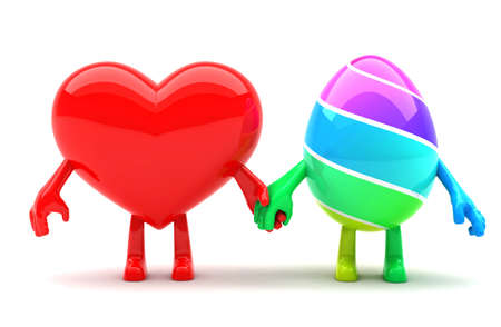 Hearth and Easter egg mascots holding hands and representing Easter spitrit of love photo