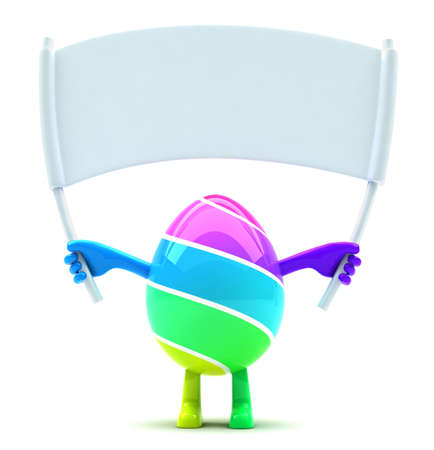humpty dumpty: Easter egg mascot holding blank white placard