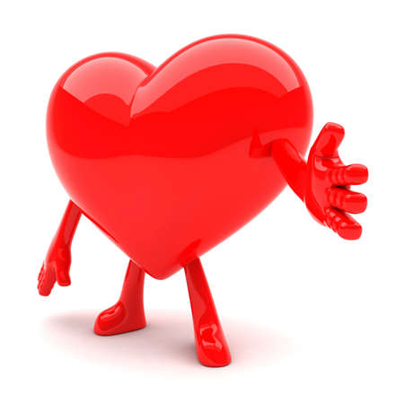 Heart shaped mascot wants to shake hands