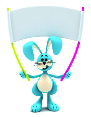 Easter bunny mascot holding blank white placard photo