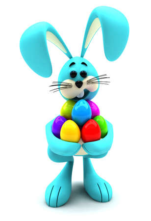 Easter bunny mascot holding bunch of colorful Easter eggs photo