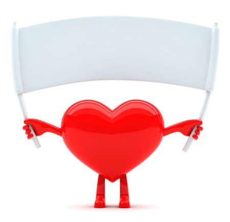 메시지의 빈 현수막 심장 모양의 마스코트 스톡 콘텐츠