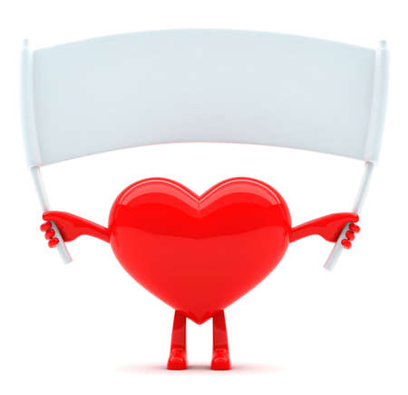 3d heart: Heart shaped mascot with blank placard for message Stock Photo