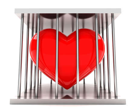 prisoner of love: Red heart shape in a  iron prison Stock Photo
