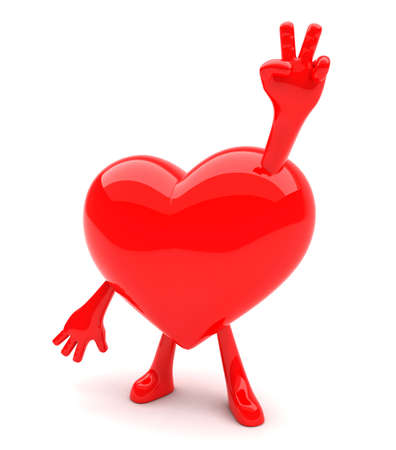 Heart shaped mascot showing victory sign with its hands photo