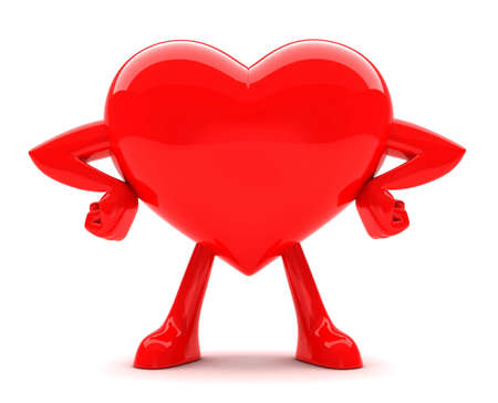 Red strong hart posing isolated on white Stock Photo