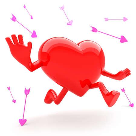 Heart shaped mascot runaway and avoid arrow Stock Photo - 12713295