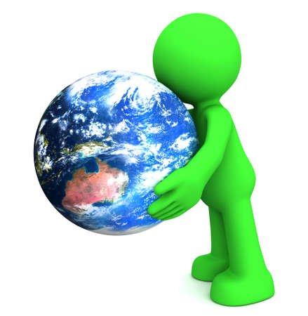 3D human character hollding planet earth isolated on white  photo