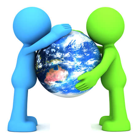 hand holding globe: 3D human characters hollding planet earth isolated on white  Stock Photo