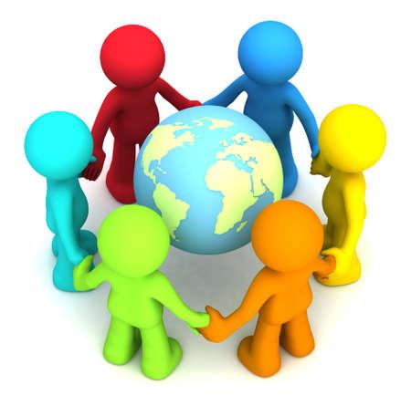 planeta tierra feliz: Seis carácter humano en 3D hollding manos alrededor del planeta tierra