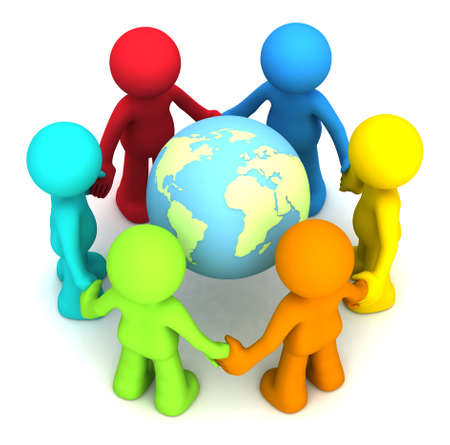 hands holding earth: Six 3D human character hollding hands around the planet earth