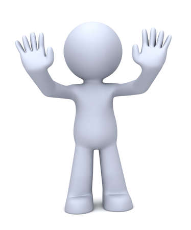 security man: 3D human character keep his hands raised in self-defense