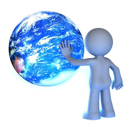 3D human character touching planet earth isolated on white  photo