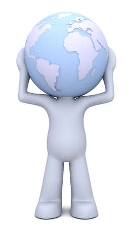 3D human character hollding planet Earth which is his head photo
