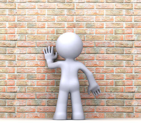 3D human character standing in front of wall photo