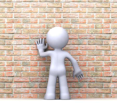 decepción: Posición 3D carácter humano delante de la pared Foto de archivo