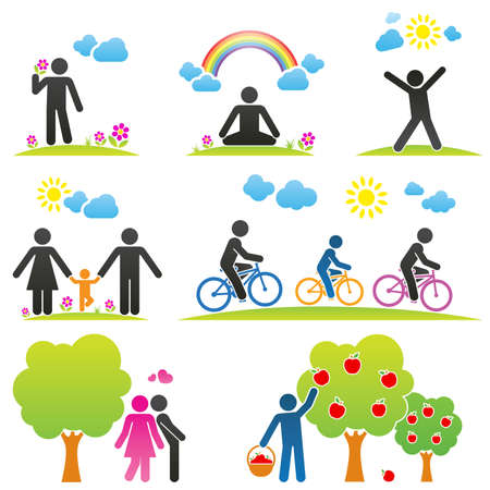 Pictograms representing people spending time in nature in different ways Vector