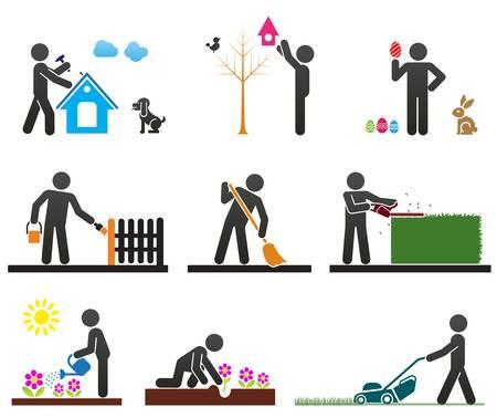 Pictogrammen die mensen die verschillende achtertuin werk Vector Illustratie