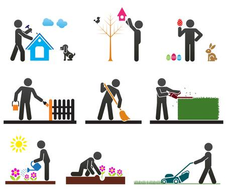 Pictograms representing people doing different backyard work Çizim
