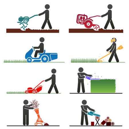Pictogrammen die mensen die veld en achtertuin banen met machines