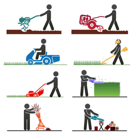 Pictograms representing people doing field and backyard jobs with machines Vector
