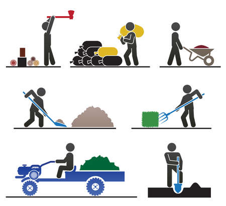 remolques: Los pictogramas que representan a la gente que hace trabajo de campo y patio trasero duro