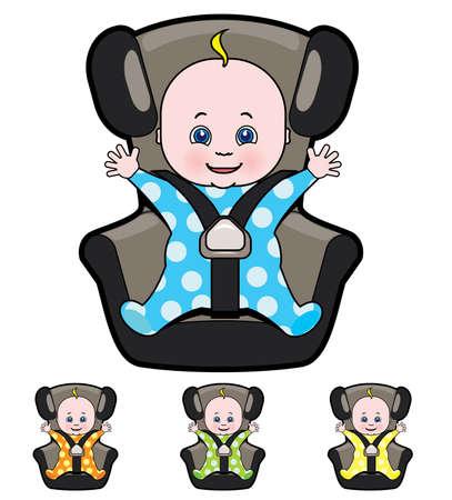 car seat: Cartone animato Vettore di bambino in seggiolino per auto