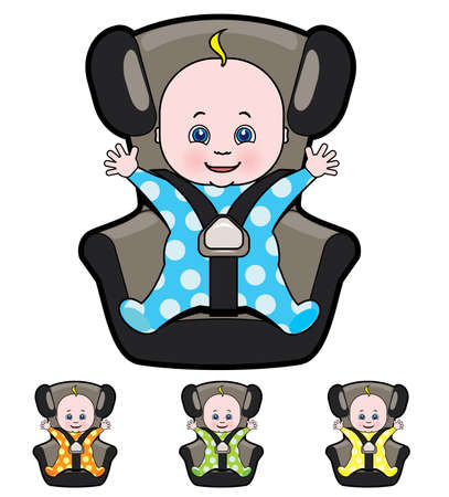 car seat: Vector cartoon of baby in car seat Illustration