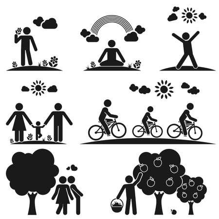 さまざまな方法で自然の中で時間を過ごす人々 を表すピクトグラム  イラスト・ベクター素材