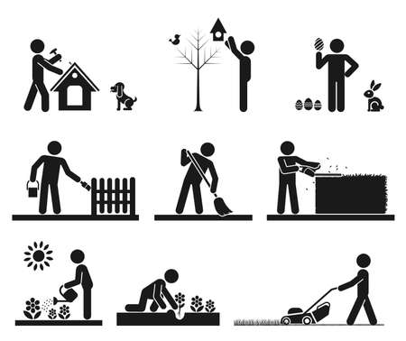 lawns: Pictograms representing people doing different backyard work Illustration