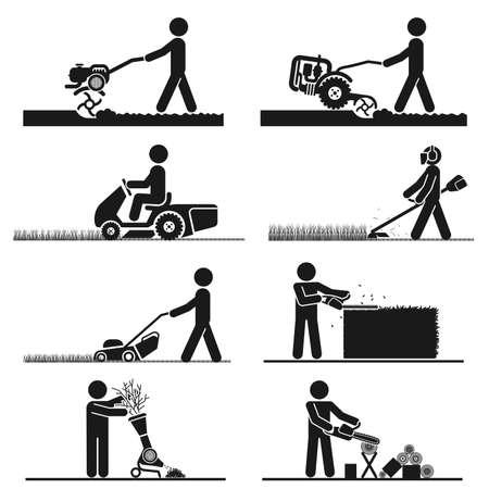 Pictograms representing people doing field and backyard jobs with machines