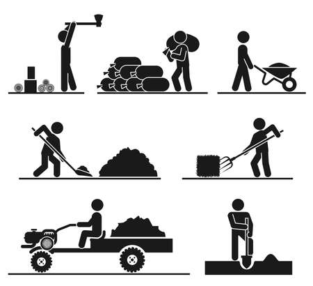 mowers: Pictograms representing people doing field and backyard hard work