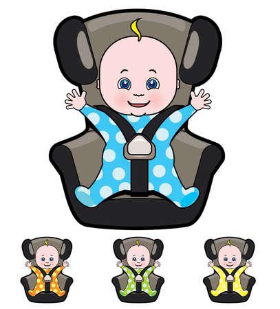 Vector cartoon of baby in car seat Çizim