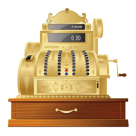 cash register: OLD FASHIONED CASH REGISTER ISOLATED ON WHITE