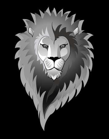 黒に分離されたライオンのイラスト  イラスト・ベクター素材