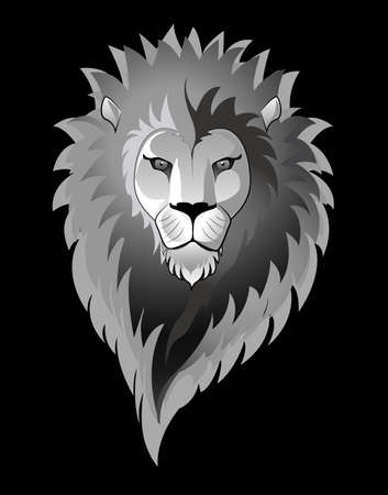 male animal: Illustration of a lion isolated on black