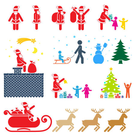 CHRISTMAS SEASON PICTOGRAM SYMBOL COLOR ICON SET  Vector