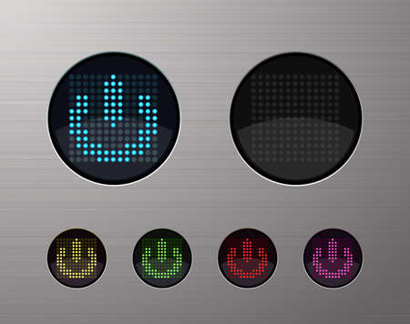 SHINY METALLIC WEB COMPUTER AND INTERNET BUTTONS Vector