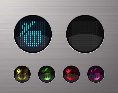 shiny buttons: SHINY METALLIC WEB COMPUTER AND INTERNET BUTTONS Illustration