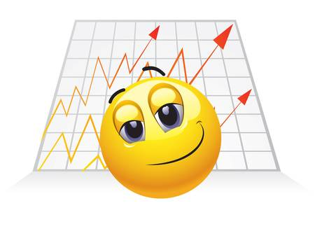 Smiley Businessman with chart growth and big smile Vector