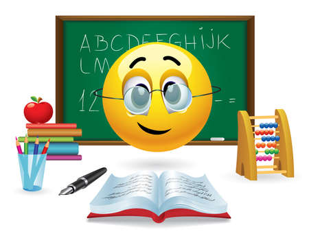 Smiley ball with eyeglasses in front of green board in classroom