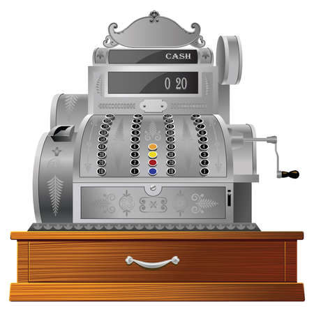 Old fashioned cash register isolated on white Stock Vector - 16173118