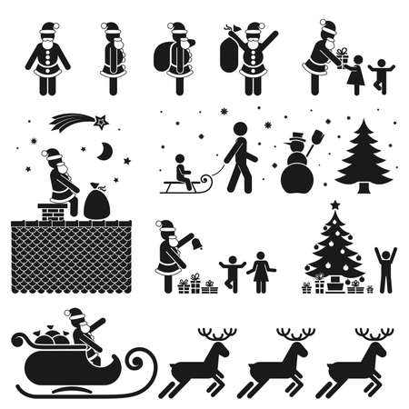 TEMPORADA DE NAVIDAD PICTOGRAMA Y NEGRO SET ICON BLANCO