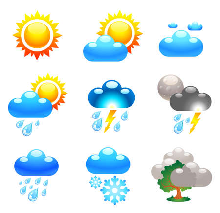 weather report: Symbols which represent weather conditions