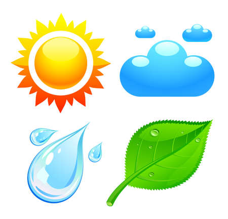 Symbols which represent four elements weather, fire, air and earth Stock Vector - 16332101