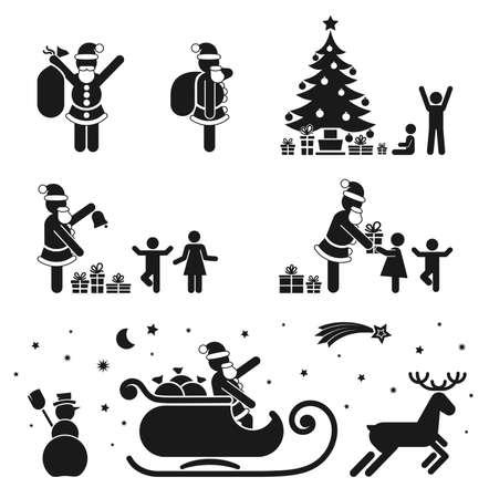ピクトグラム黒白いアイコンを設定 - クリスマスの季節  イラスト・ベクター素材