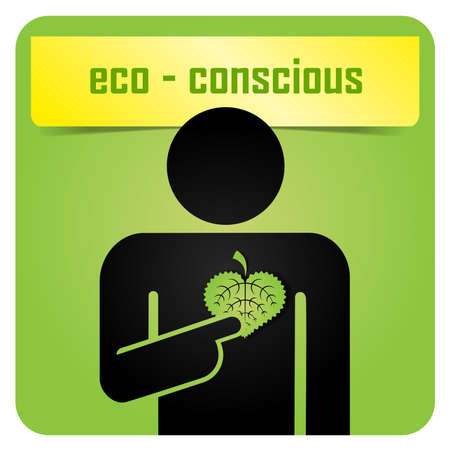 A man holding green leaf and sending message about ecology Stock Vector - 16434785