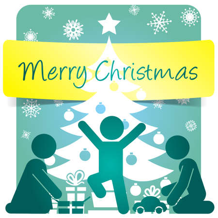 Merry Christmas greeting card, pictogram vector illustration     Stock Vector - 16434787