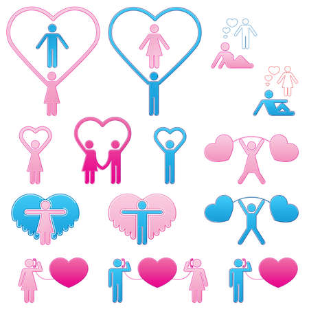 Pictograms which represent couple in love Stock Vector - 16730741