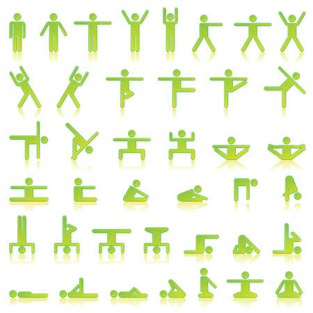 Pictograms which represent yoga exercise Illustration